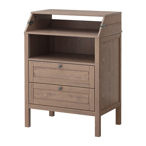 sundvik changing table chest of drawers grey brown ikea