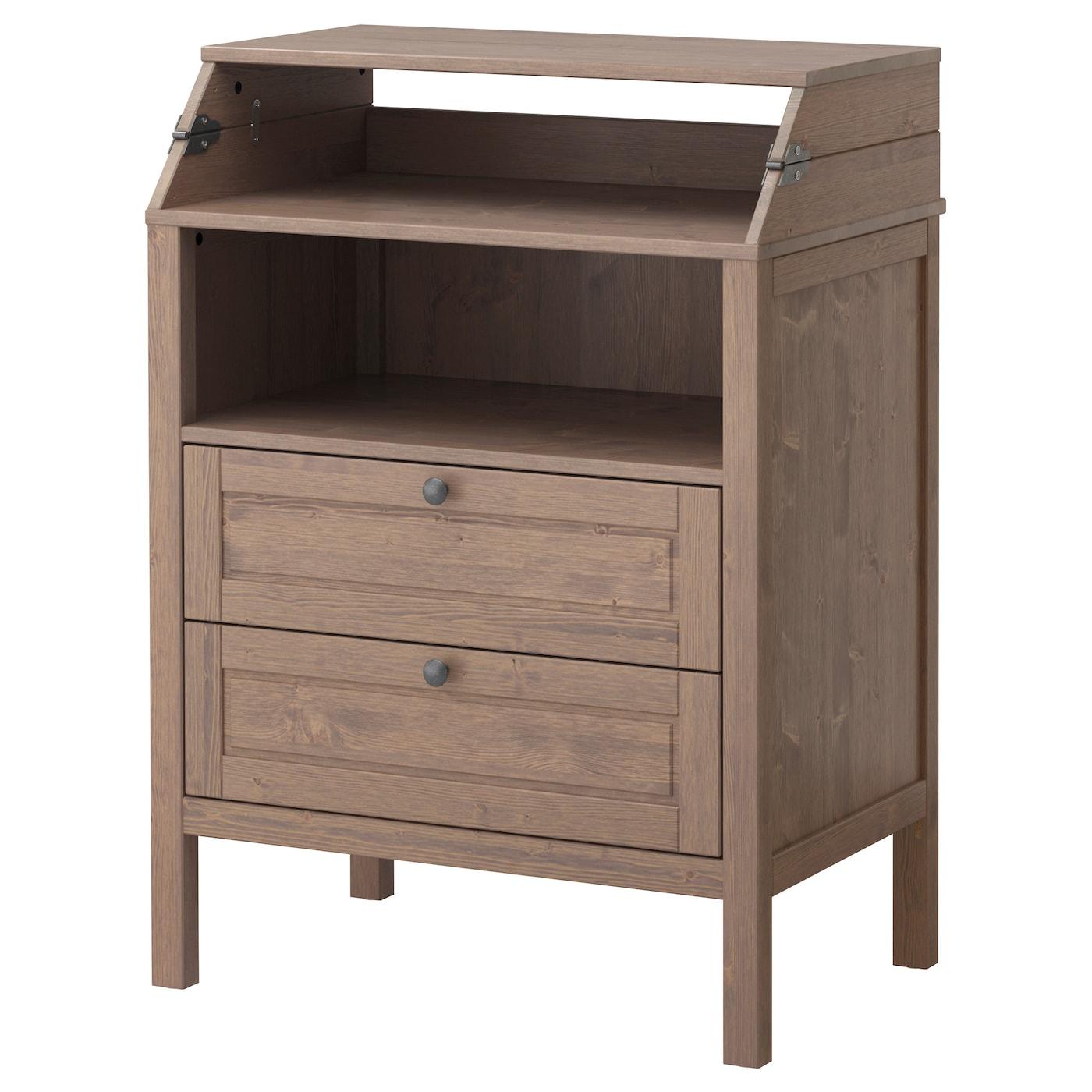 sundvik changing table chest of drawers grey brown ikea. Black Bedroom Furniture Sets. Home Design Ideas