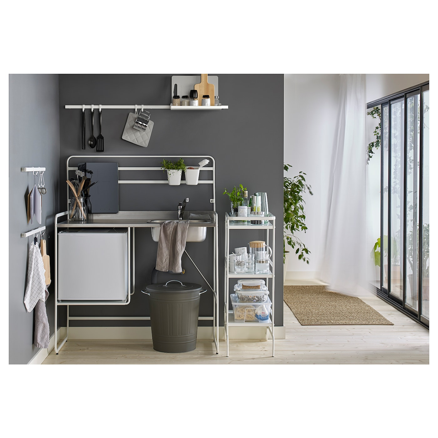 IKEA SUNNERSTA shelf Gives you extra storage in your kitchen.  Can be hung on SUNNERSTA rail.