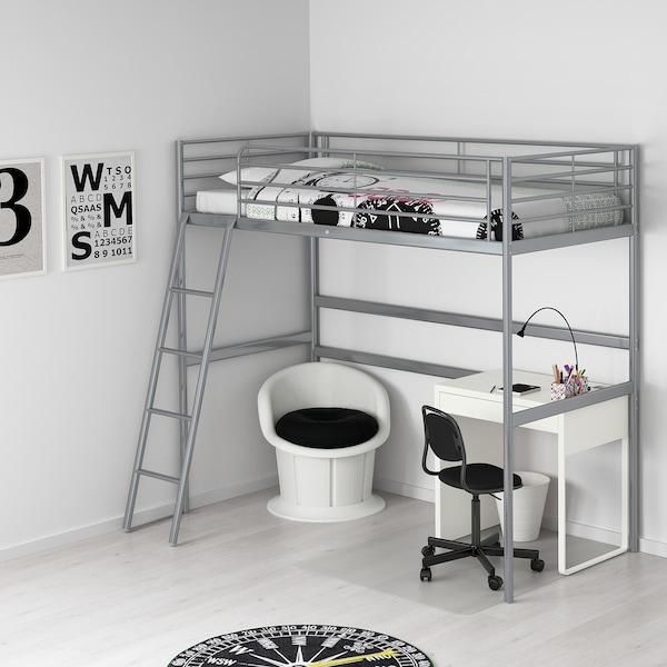 SVÄRTA Loft bed frame, silver-colour, 90x200 cm