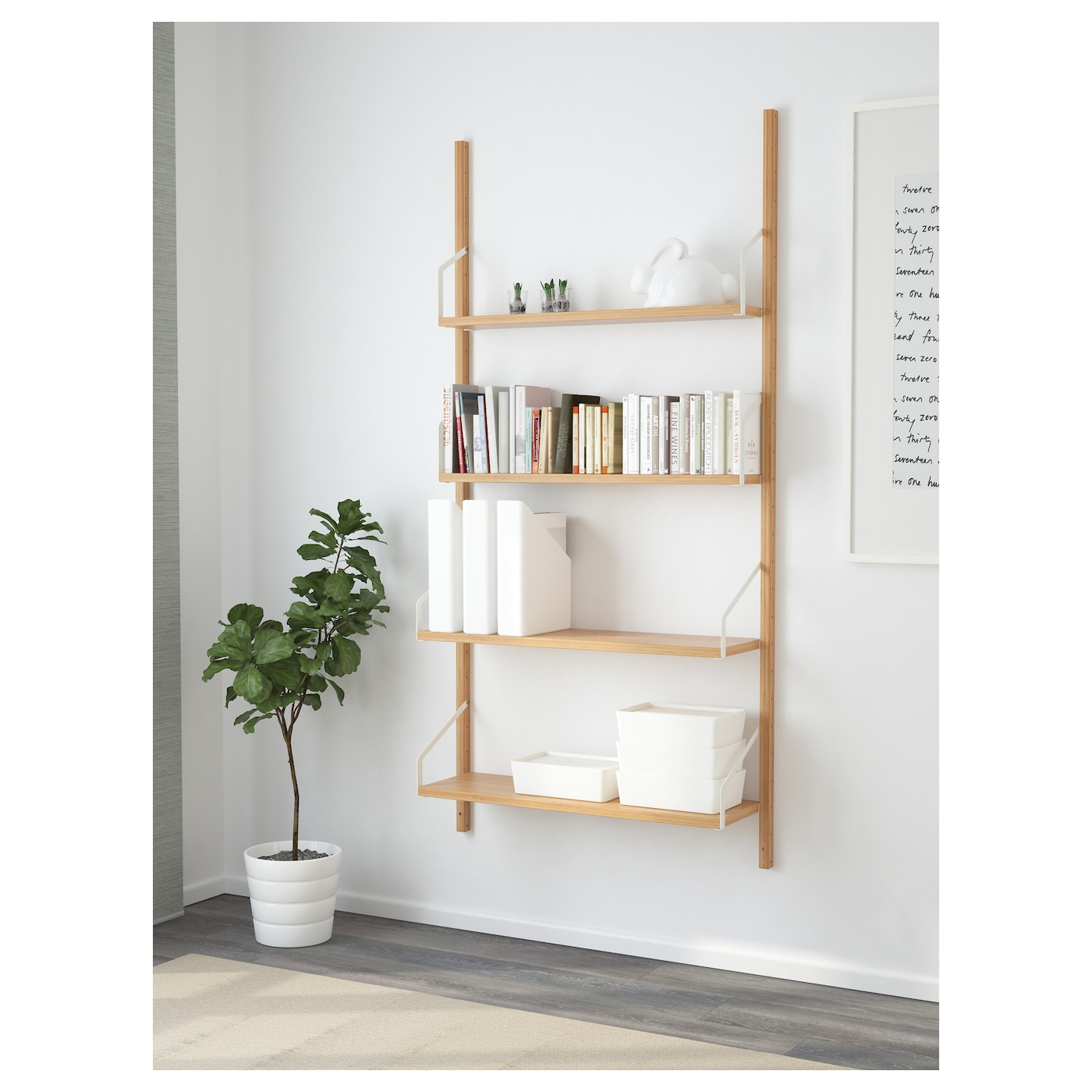 "SVALN""S Wall mounted shelf bination Bamboo 86x25x176 cm IKEA"