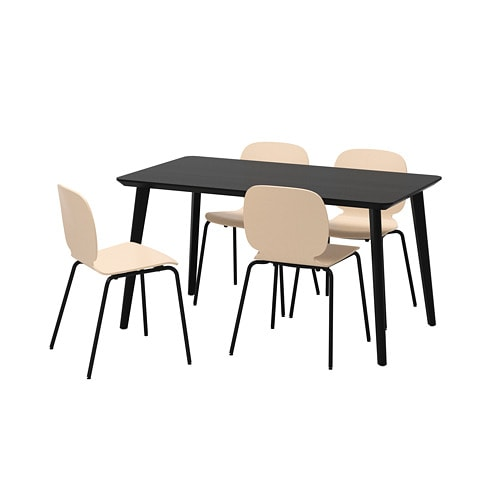 svenbertil lisabo table and 4 chairs black birch 140 x 78 cm ikea. Black Bedroom Furniture Sets. Home Design Ideas