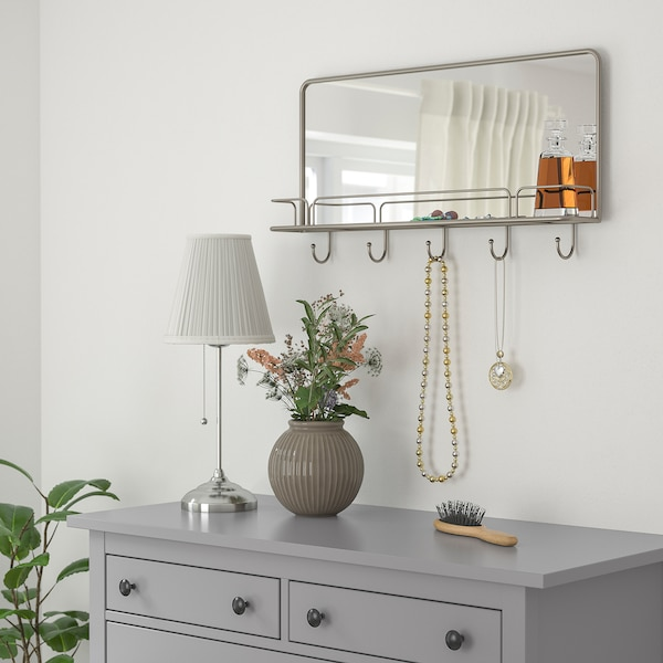 SYNNERBY Mirror with shelf and hooks, grey, 71x38 cm