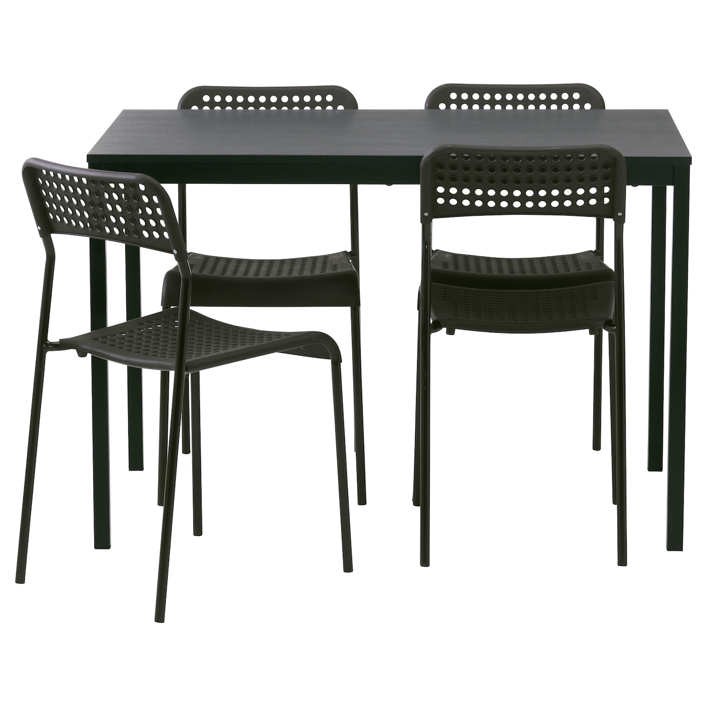 T rend adde table and 4 chairs black 110 cm ikea for Set de table ikea