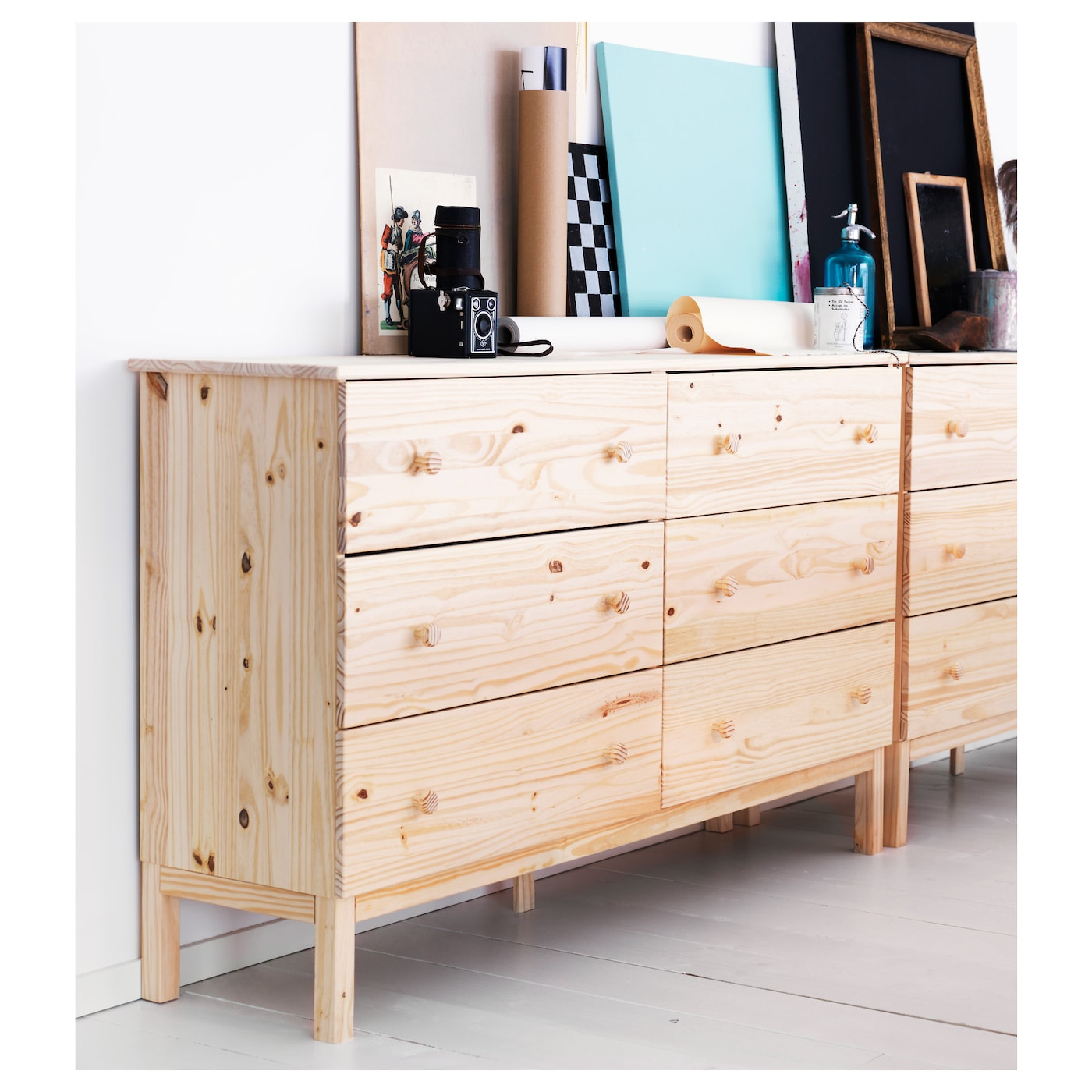 Tarva chest of 6 drawers pine 155x92 cm ikea for Pine desk ikea