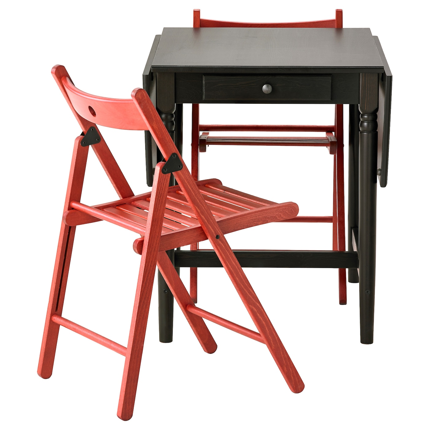 TERJE INGATORP Table and 2 chairs Black brown red 59 cm IKEA