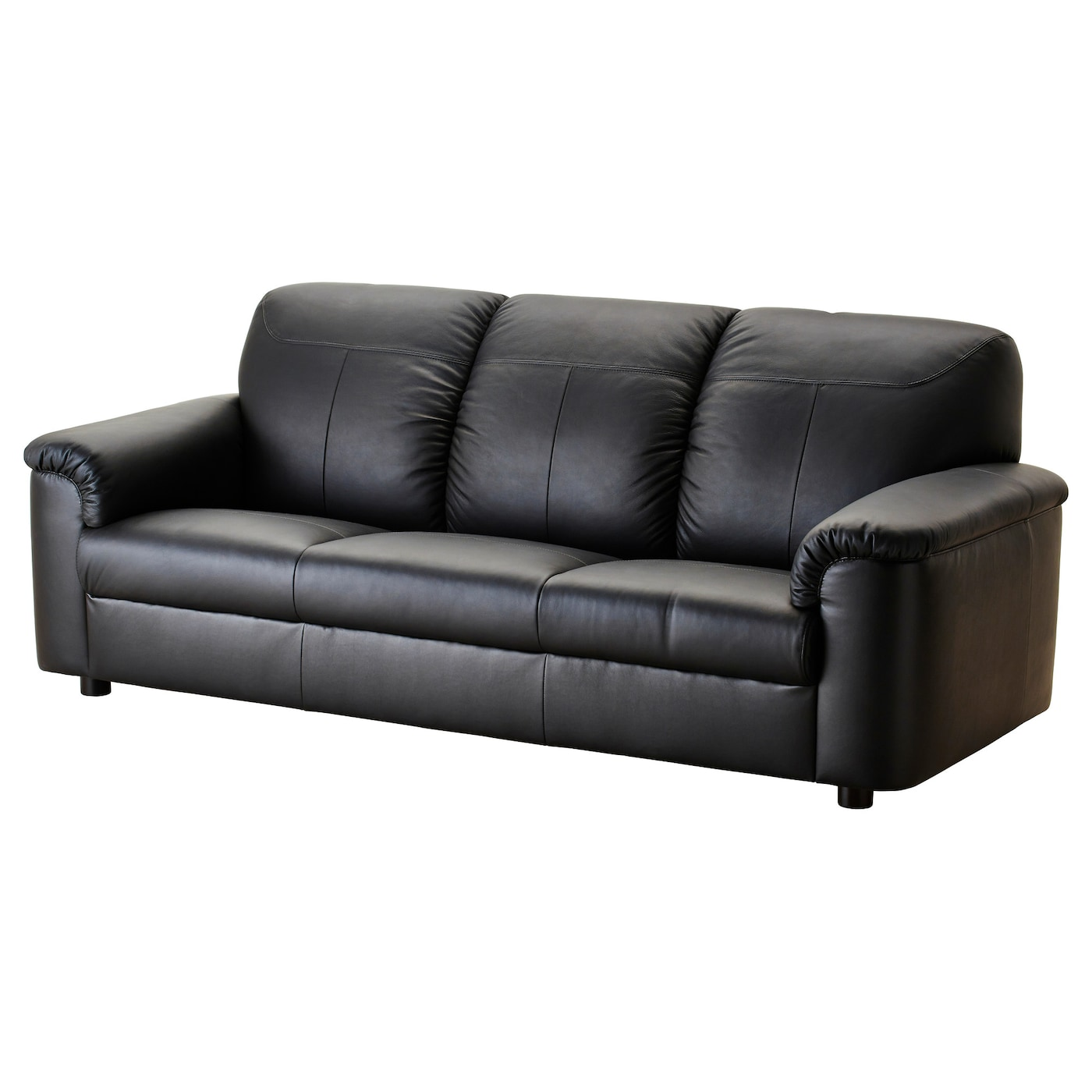 Timsfors three seat sofa mjuk kimstad black ikea for Ikea leather loveseat