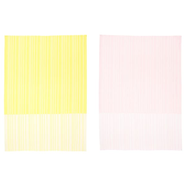 TIMVISARE Tea towel, yellow/light pink, 50x70 cm