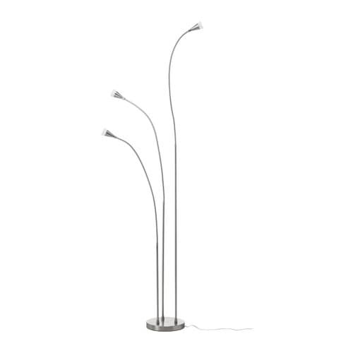 TIVED LED floor lamp IKEA Flexible arm; makes it easy to direct the light according to need.  Slim design; easy to place in small spaces.