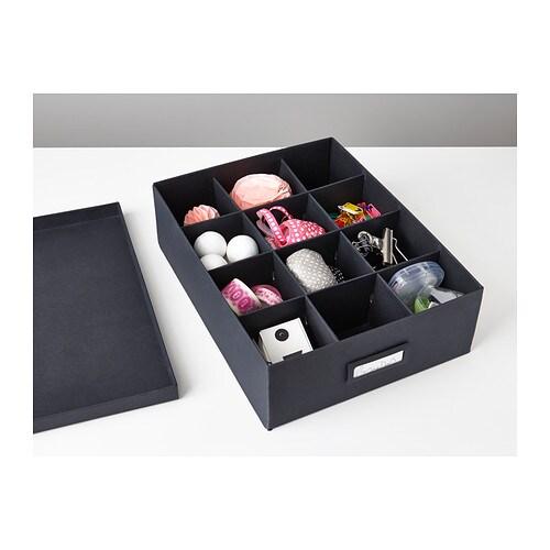 Tjena box with compartments black 27x35x10 cm ikea - Box fa r weihnachtskugeln ikea ...