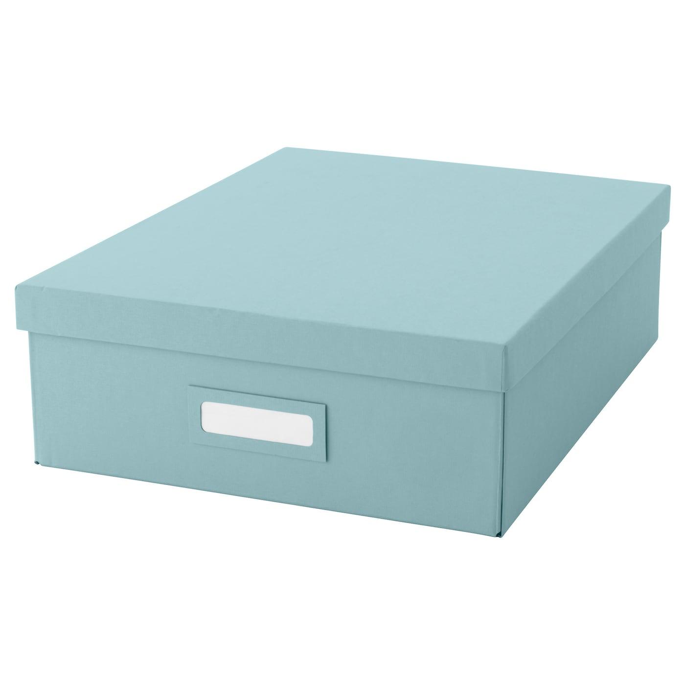 tjena box with compartments light blue 27x35x10 cm ikea