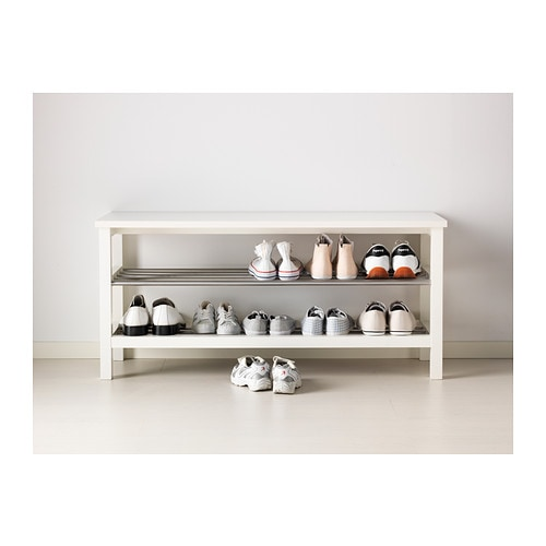 TJUSIG Bench with shoe storage White 108x50 cm - IKEA