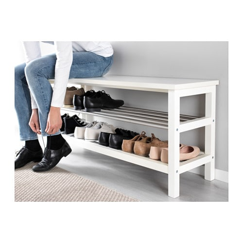 Tjusig Bench With Shoe Storage White 108x50 Cm Ikea