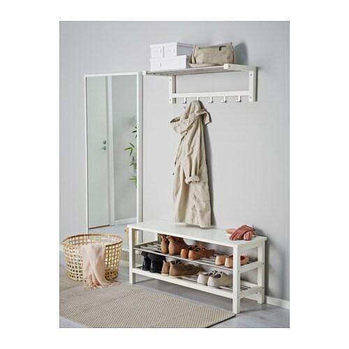 Tjusig bench with shoe storage white 108x50 cm ikea - Ikea rangement cellier ...