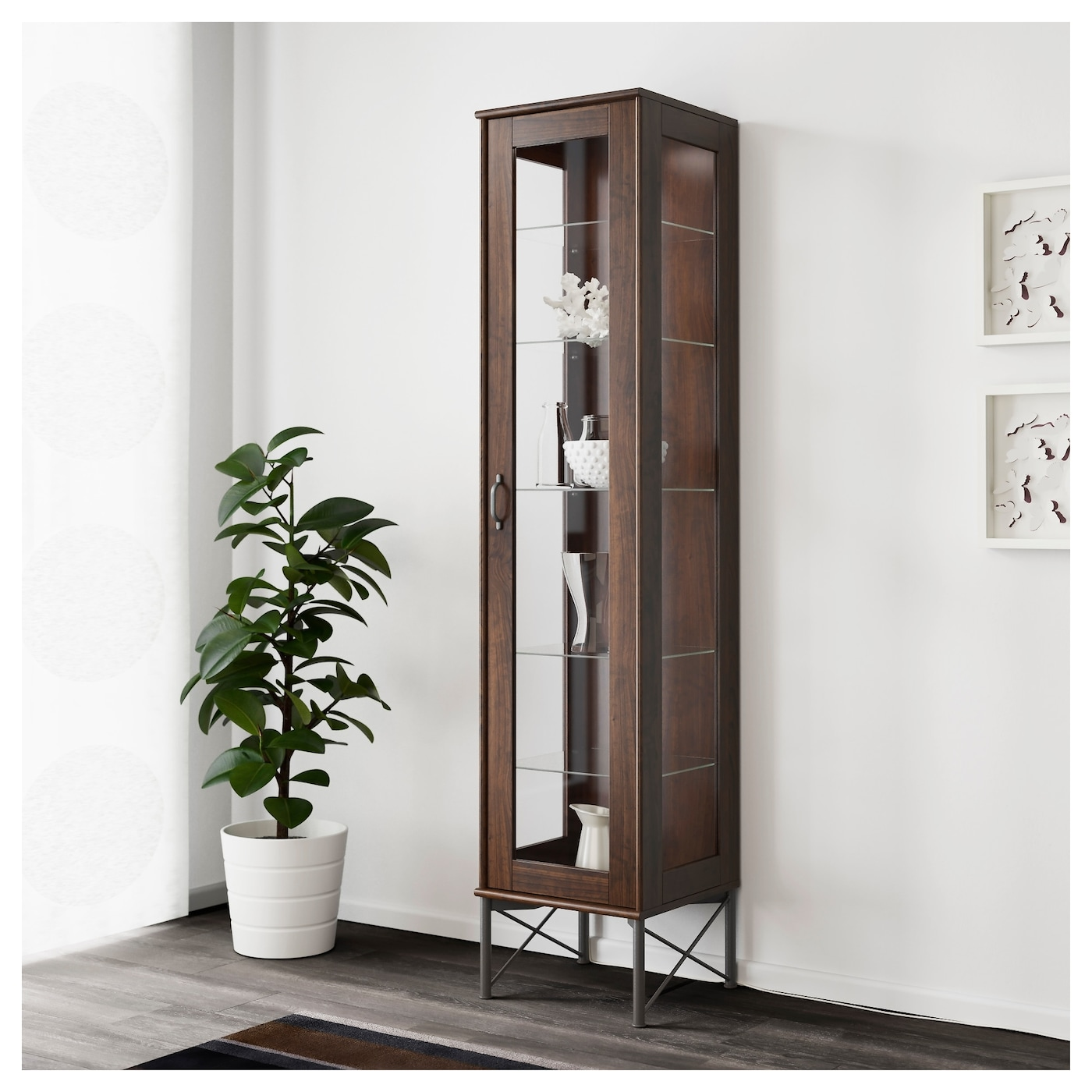 Tockarp glass door cabinet brown 38x175 cm ikea - Ikea glass cabinets ...