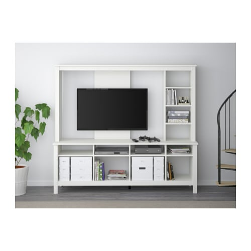 Tomn s tv storage unit white 183x48x163 cm ikea for Meuble console ikea