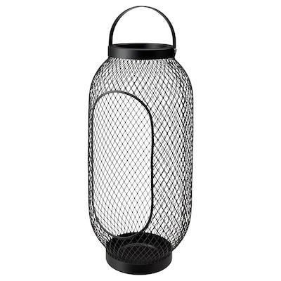 TOPPIG Lantern for block candle, black, 49 cm