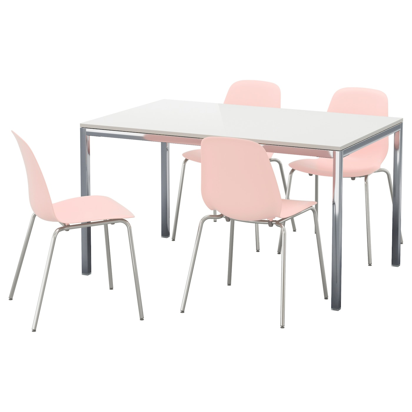 Torsby leifarne table and 4 chairs high gloss white pink for Table ikea 4 99