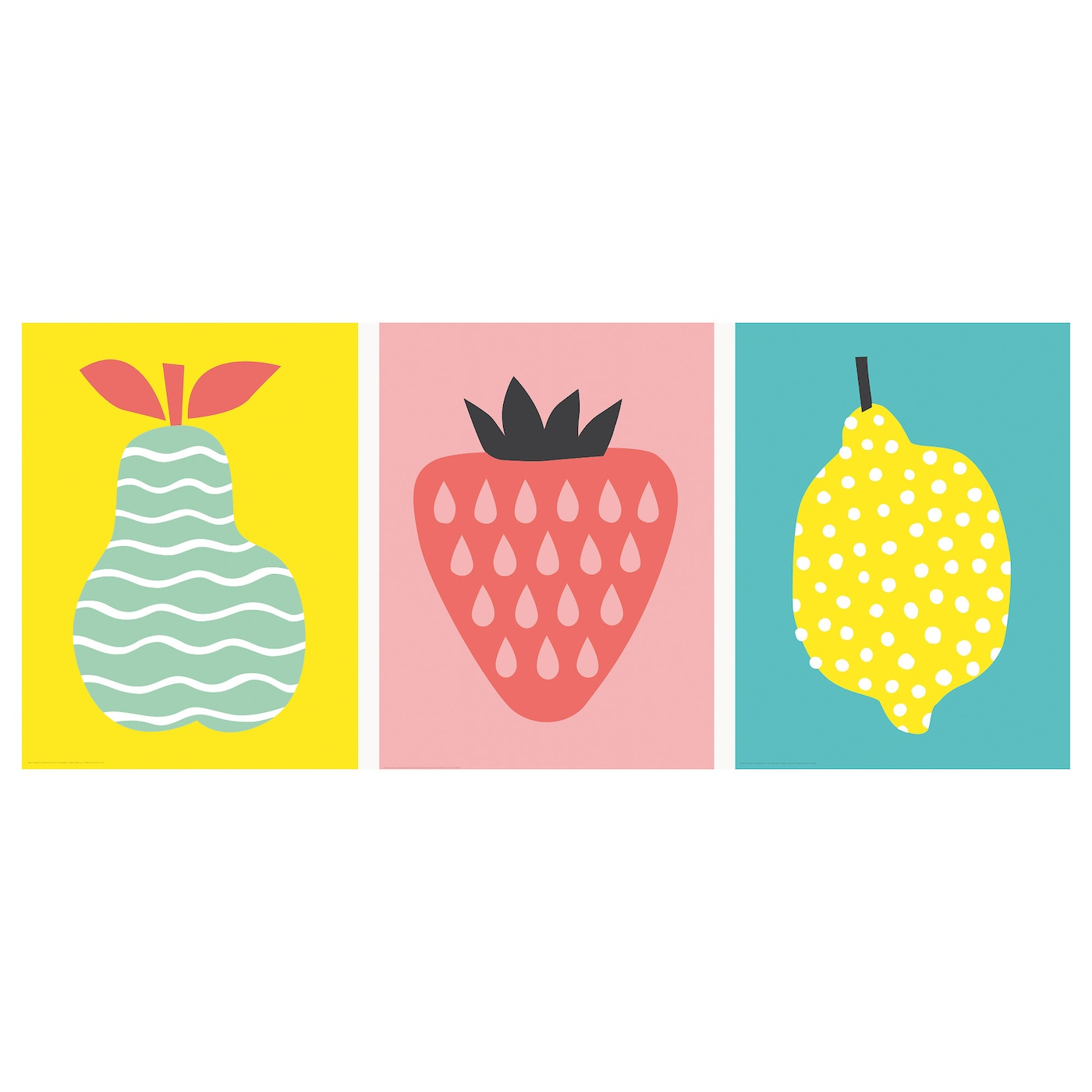 Trilling poster set of 3 trio of fruits 30x40 cm ikea for Poster ikea