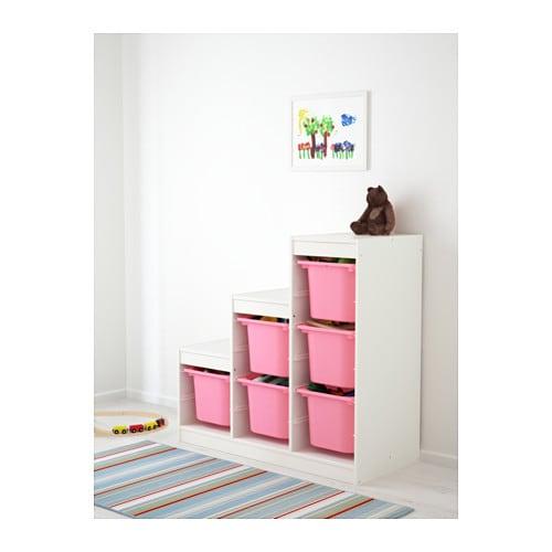 Trofast storage combination white pink 99x44x94 cm ikea - Ikea meuble escalier ...