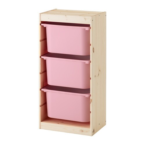 TROFAST Storage combination with boxes Light white stained pine/pink ...