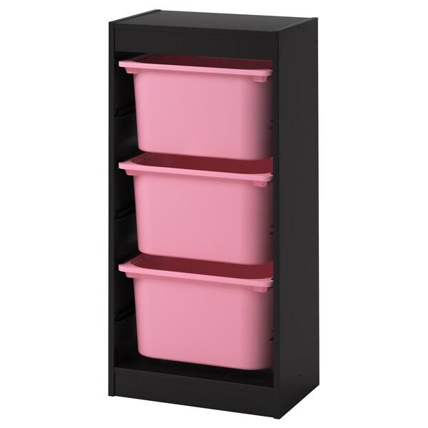 TROFAST storage combination with boxes black/pink 46 cm 30 cm 94 cm