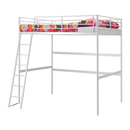 Troms loft bed frame white 140x200 cm ikea for White bunk bed frame