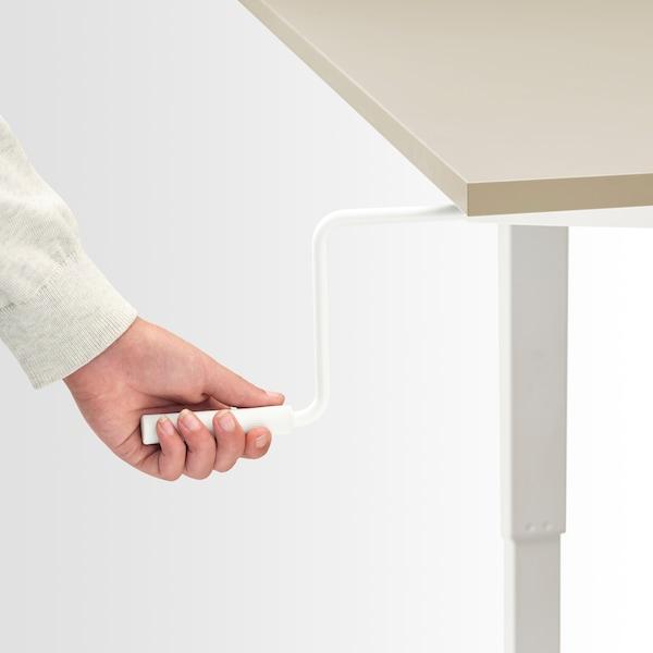 TROTTEN / SKARSTA Desk sit/stand, beige/white, 120x70 cm