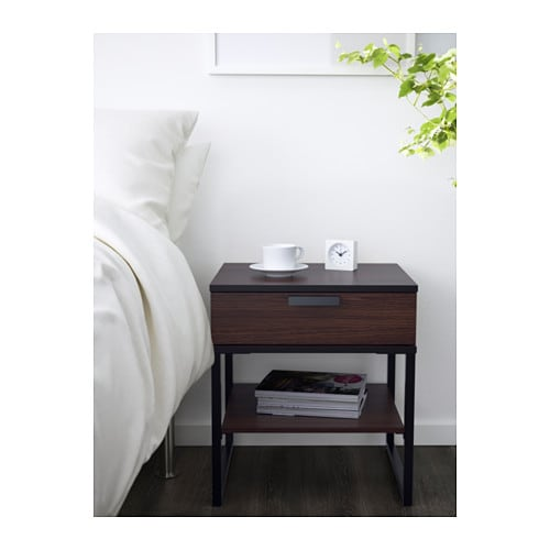 trysil bedside table dark brown black 45x40 cm ikea. Black Bedroom Furniture Sets. Home Design Ideas
