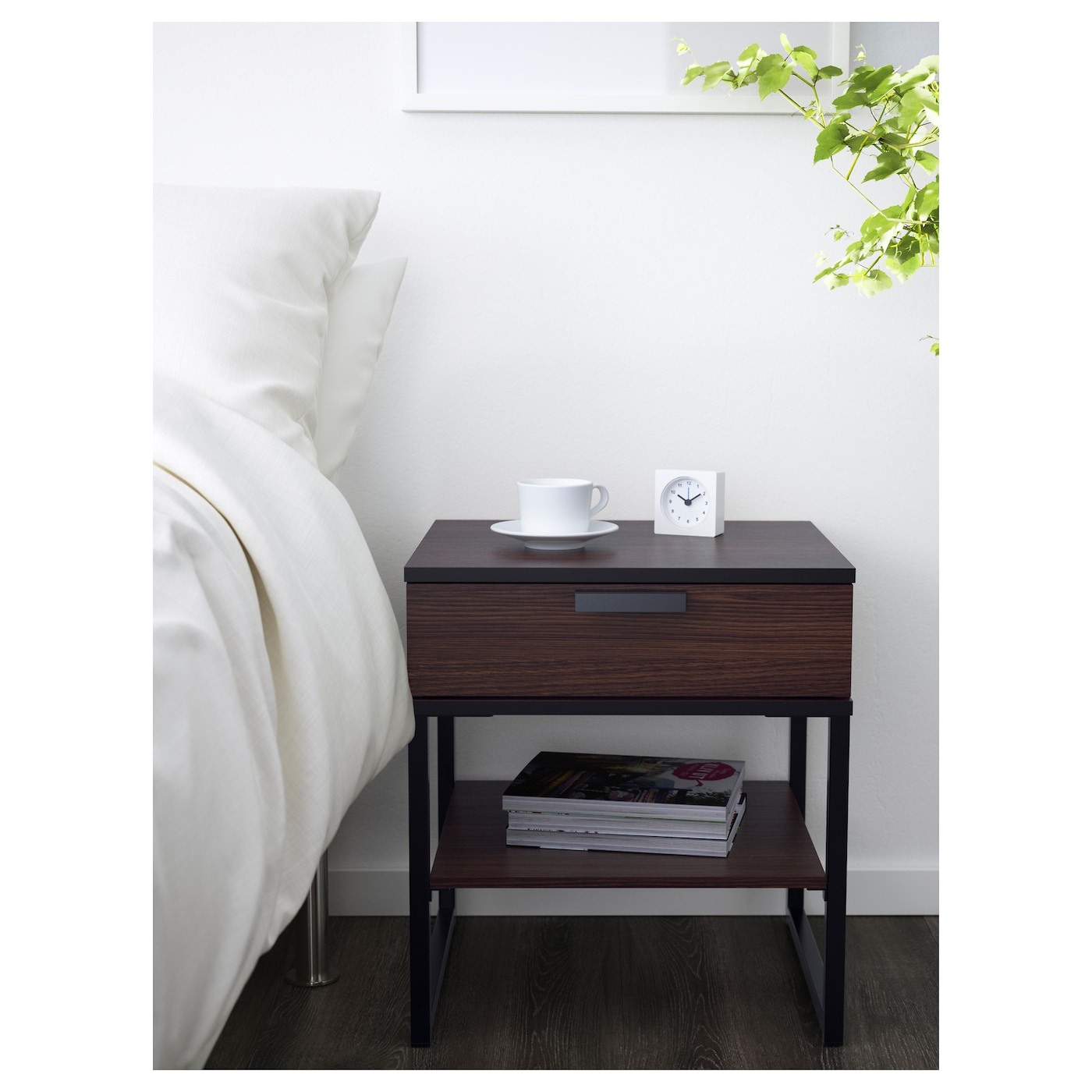 bedside table trysil dark brown black