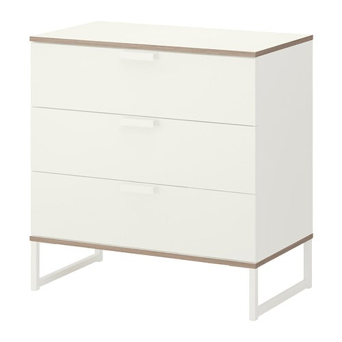 IKEA TRYSIL chest of 3 drawers Smooth running drawer with pull-out stop.