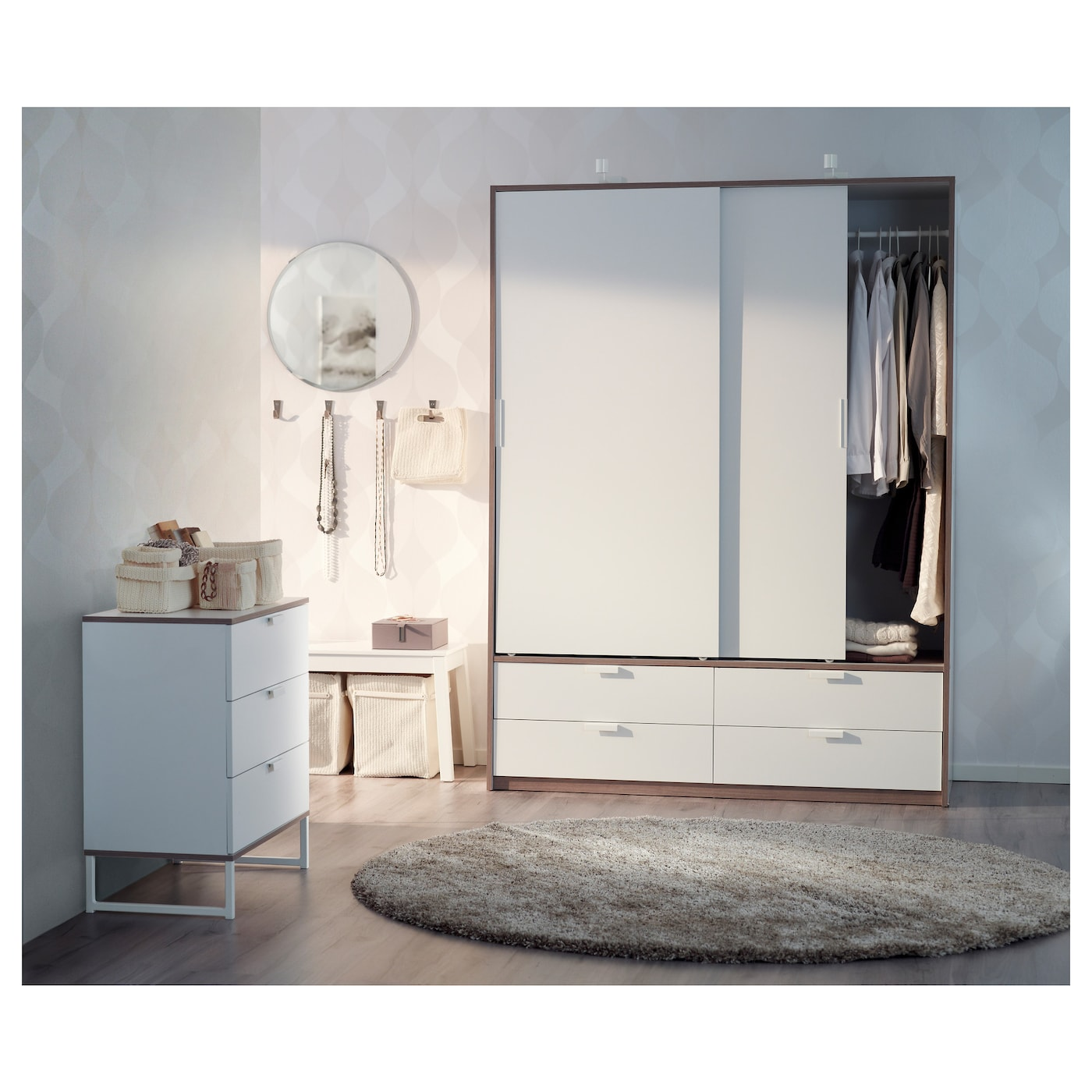 trysil chest of 3 drawers white light grey 75x77 cm ikea. Black Bedroom Furniture Sets. Home Design Ideas
