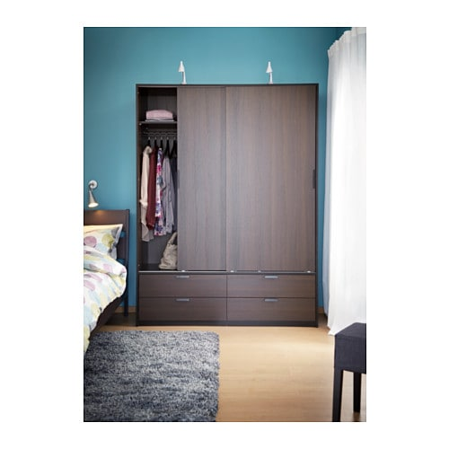 ikea trysil wardrobe w sliding doors 4 drawers smooth running drawers with pull out stop. Black Bedroom Furniture Sets. Home Design Ideas