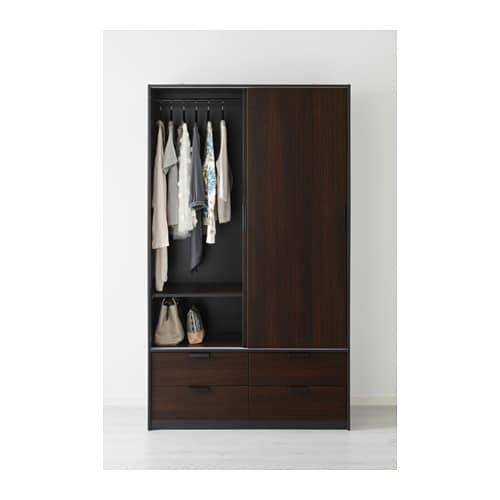 Trysil Wardrobe W Sliding Doors 4 Drawers Dark Brown