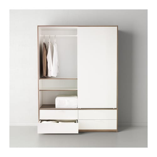trysil wardrobe w sliding doors 4 drawers white light grey 154x205 cm ikea. Black Bedroom Furniture Sets. Home Design Ideas