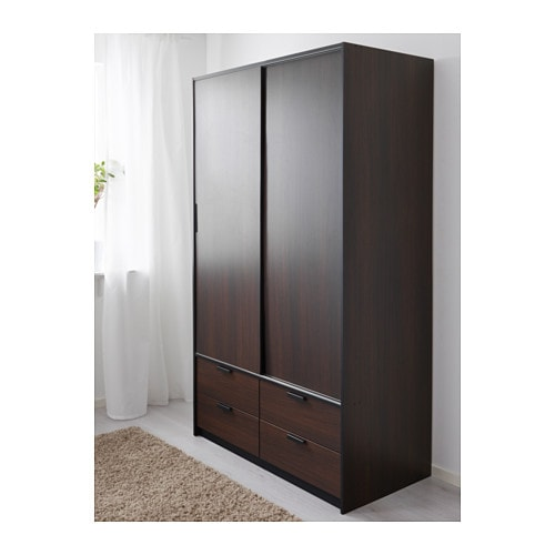 Ikea Schreibtisch Expedit Mit Regal ~ TRYSIL Wardrobe w sliding doors 4 drawers Dark brown 118x61x202 cm