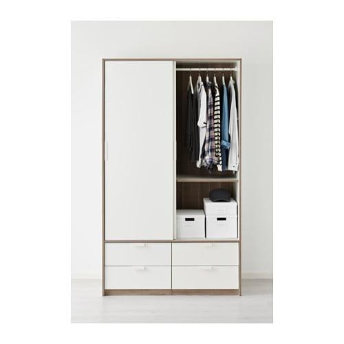 TRYSIL Wardrobe w sliding doors/4 drawers White 118x61x202 cm - IKEA