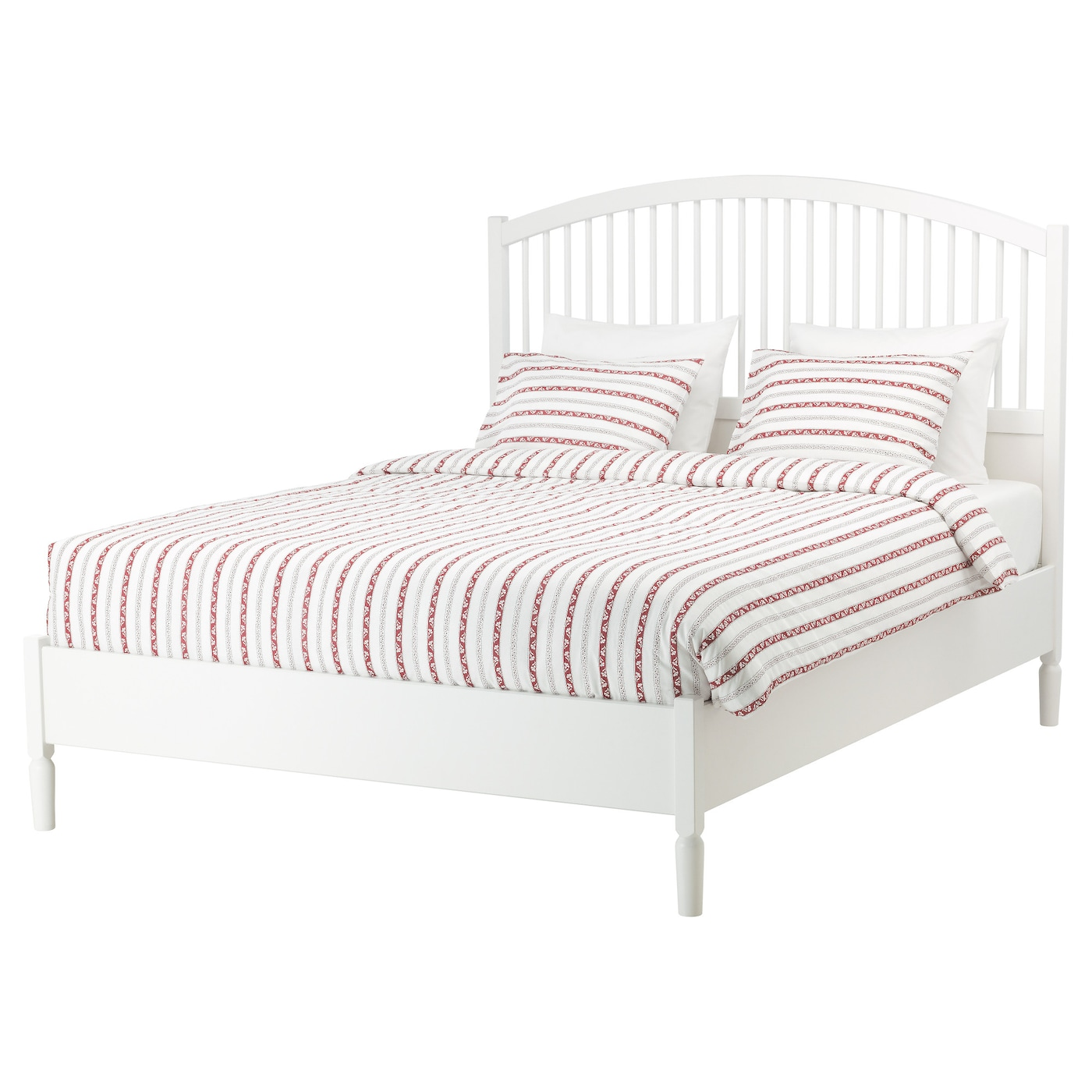 Tyssedal bed frame white leirsund standard king ikea for Ikea mattress frame
