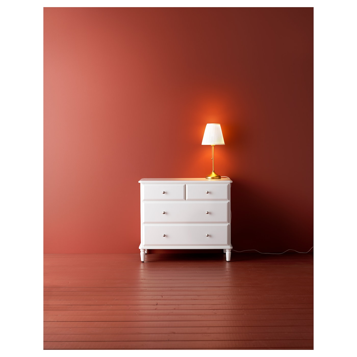 IKEA TYSSEDAL chest of 4 drawers Smooth running drawers with pull-out stop.