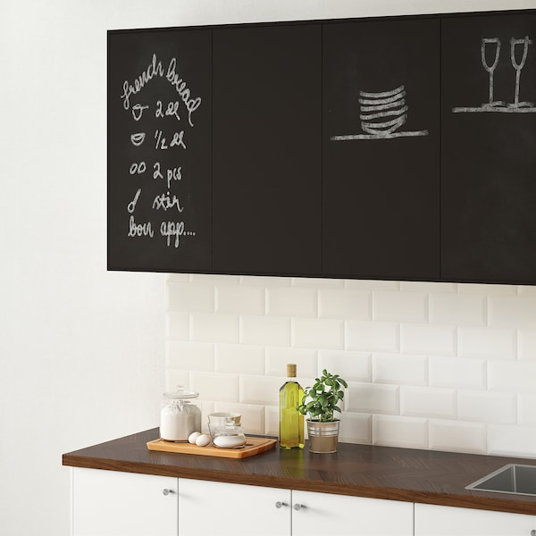 UDDEVALLA Door with blackboard surface, anthracite, 40x80 cm