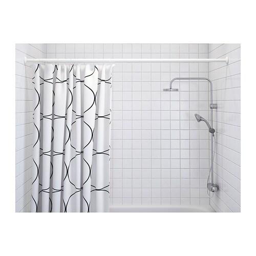 Uddgrund shower curtain white black 180x180 cm ikea - Tringle rideau de douche ikea ...