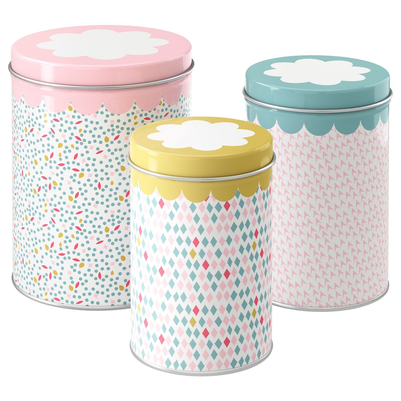 IKEA UDDIG tin with lid, set of 3 Suitable for coffee, tea and other dry food.