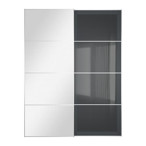 uggdal auli pair of sliding doors mirror glass grey glass pe s4