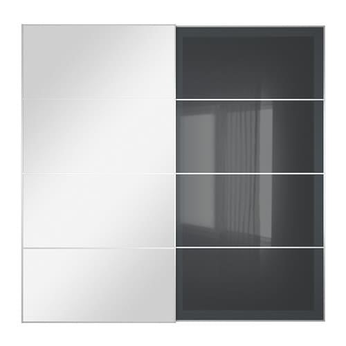 Uggdal auli pair of sliding doors mirror glass grey glass - Porte coulissante dressing ikea ...