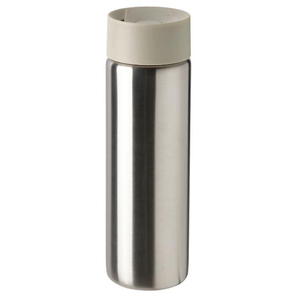 UNDERSÖKA Insulated travel mug, stainless steel/beige, 0.4 l