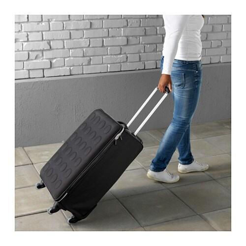 Uppt cka suitcase on wheels collapsible dark grey ikea - Lit retractable ikea ...