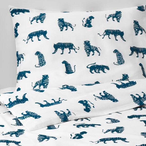 URSKOG Quilt cover and pillowcase, tiger/blue, 150x200/50x80 cm