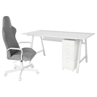 UTESPELARE / HELMER Desk, chair and drawer unit, light grey grey/white