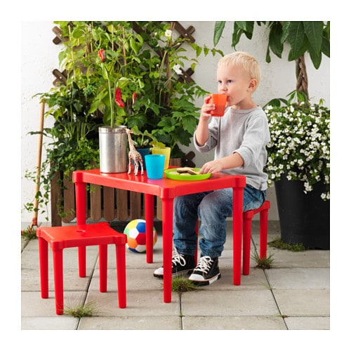 Utter Children S Table With 2 Stools In Outdoor Red Ikea