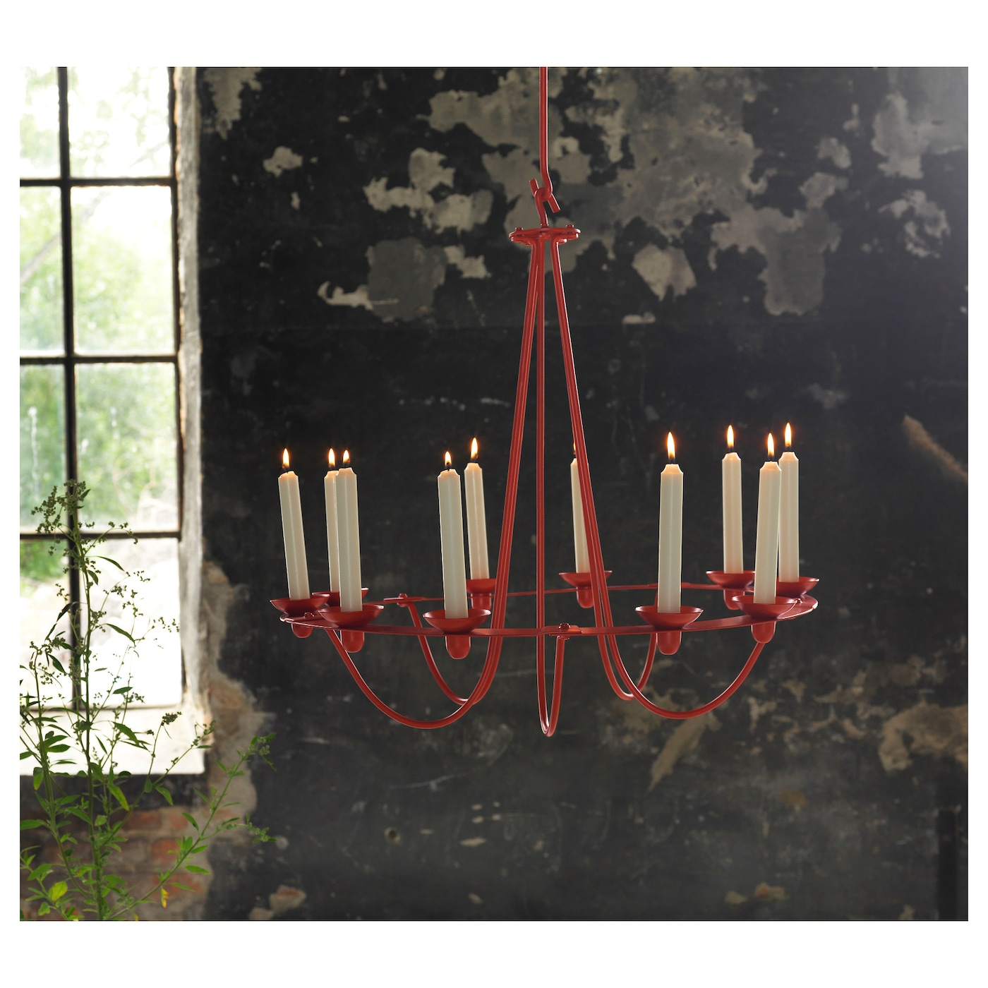 IKEA VÄSSAD chandelier for 10 candles 4 removable hooks; height adjustable according to need.
